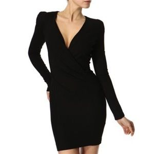 French connection 3/4 sleeve wrap bodycon dress